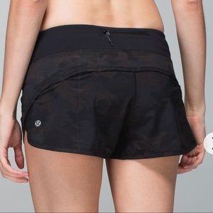 Lululemon black camo speed shorts